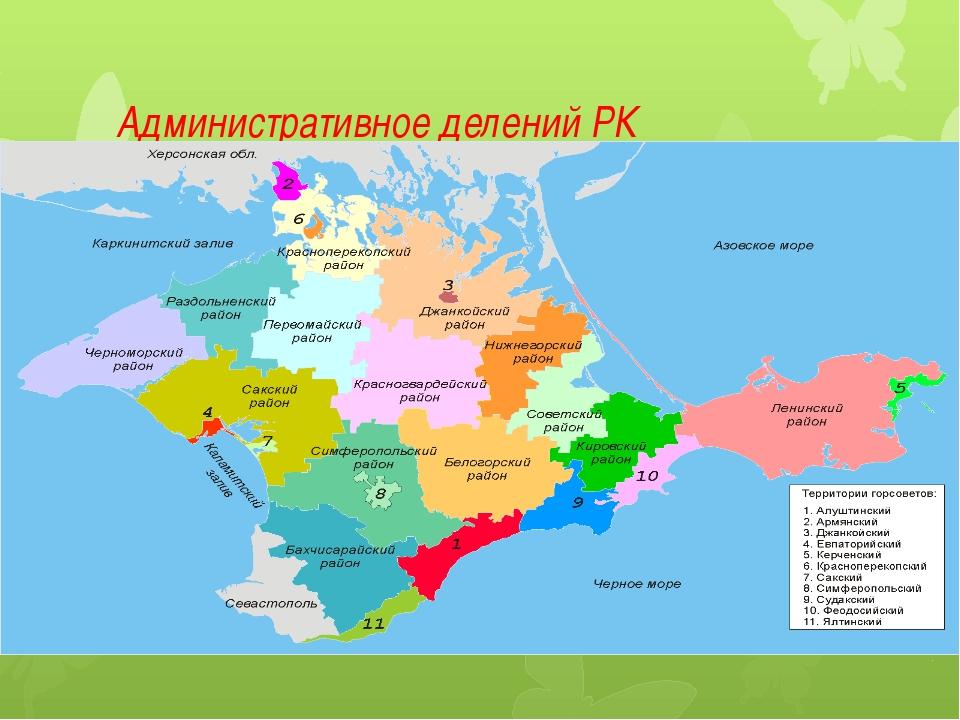 Административное делений РК