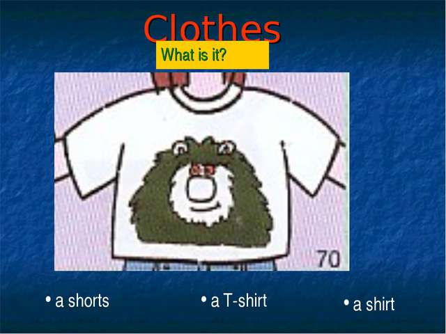 Clothes What is it? a T-shirt a shorts a shirt