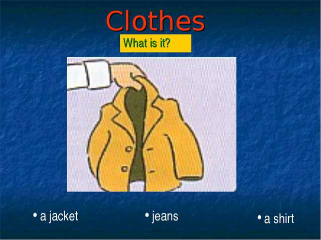 Clothes What is it? a jacket jeans a shirt