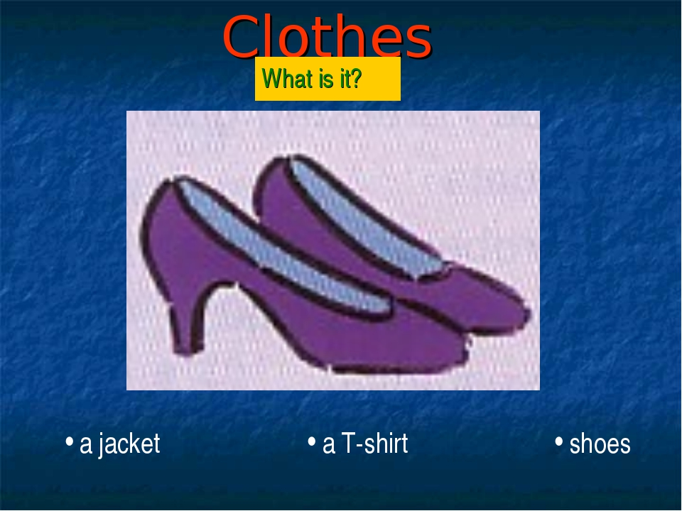 Clothes What is it? a jacket a T-shirt shoes