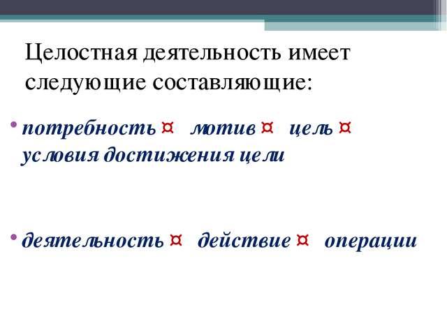 Целостная деятельность имеет следующие составляющие: потребность ↔ мотив ↔ це...