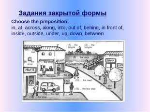 Задания закрытой формы Choose the preposition: in, at, across, along, into