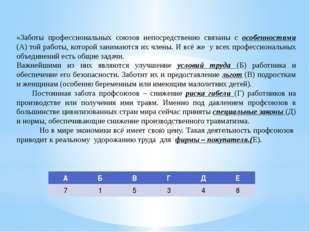 «Заботы профессиональных союзов непосредственно связаны с особенностями (А) т