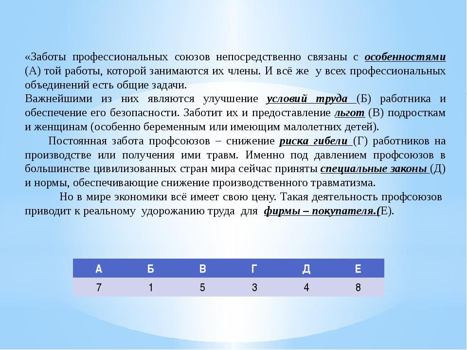 «Заботы профессиональных союзов непосредственно связаны с особенностями (А) т...