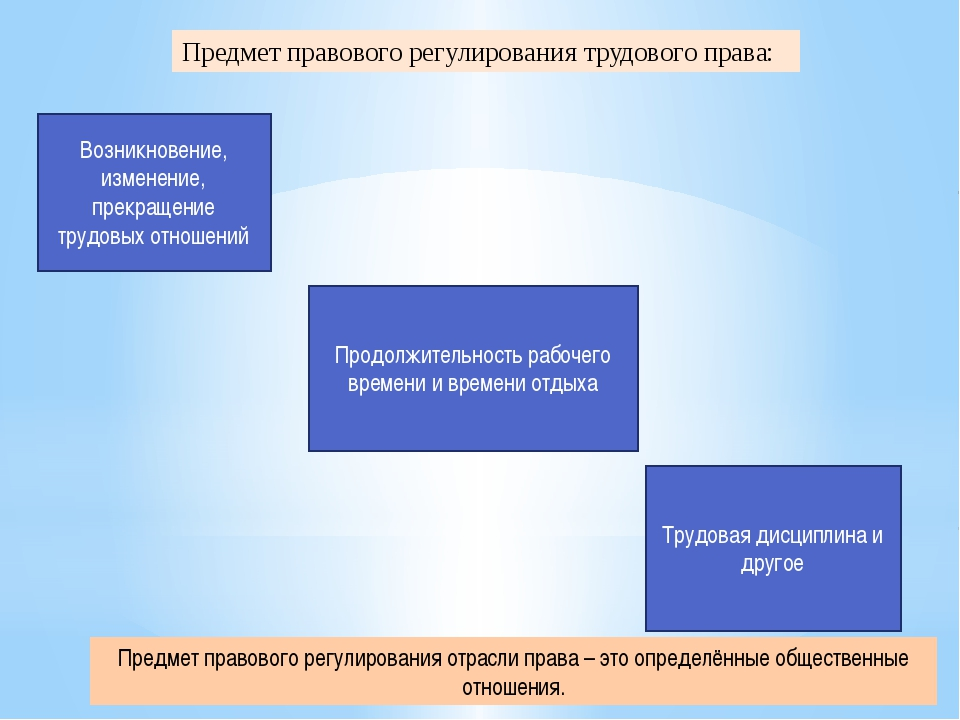 Предмет правового регулирования трудового права: Возникновение, изменение, пр...