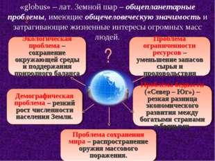 «globus» – лат. Земной шар – общепланетарные проблемы, имеющие общечеловеческ