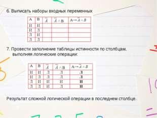 6. Выписать наборы входных переменных 7. Провести заполнение таблицы истиннос