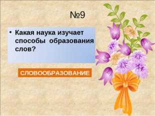 №9 СЛОВООБРАЗОВАНИЕ