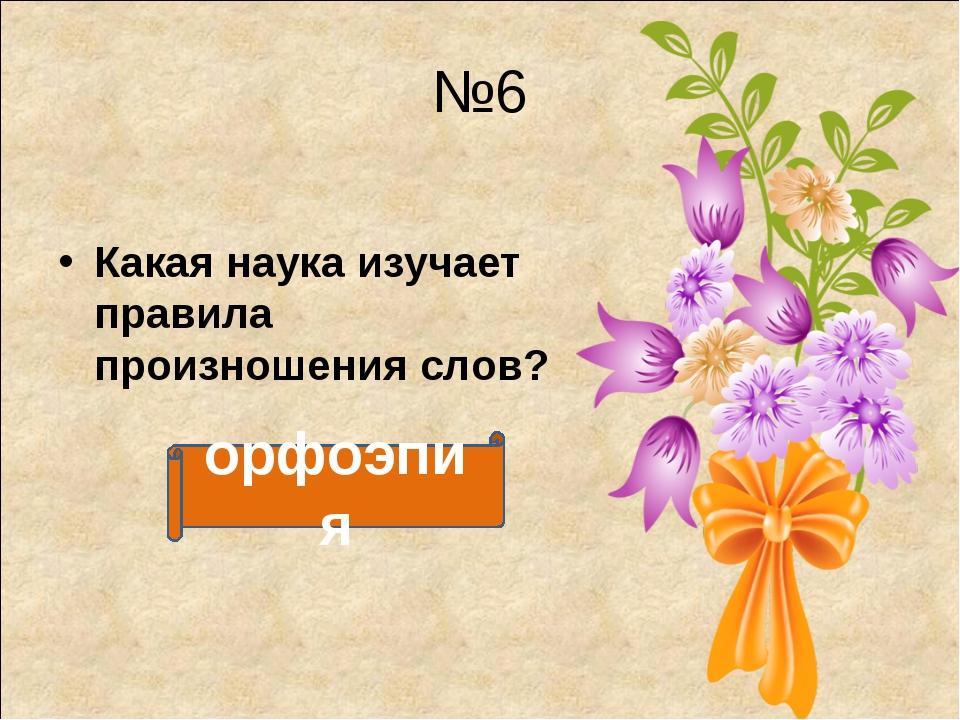 №6 Какая наука изучает правила произношения слов? орфоэпия