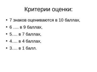 Критерии оценки: 7 знаков оцениваются в 10 баллах, 6 …. в 9 баллах, 5…. в 7 б