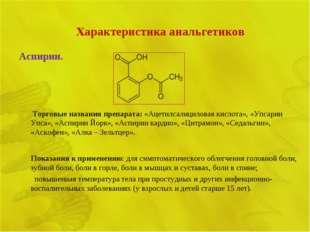 Характеристика анальгетиков Аспирин.  Торговые названия препарата: «Ацетилса