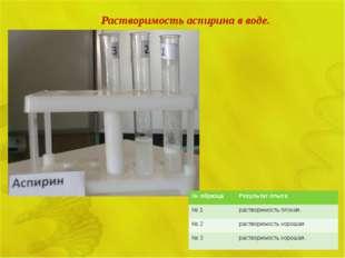Растворимость аспирина в воде. № образцаРезультат опыта № 1растворимость пл