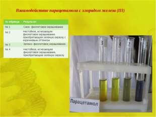 Взаимодействие парацетамола с хлоридом железа (III) № образцаРезультат № 1С