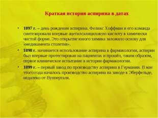 Краткая история аспирина в датах 1897 г. – день рождения аспирина. Феликс Хоф