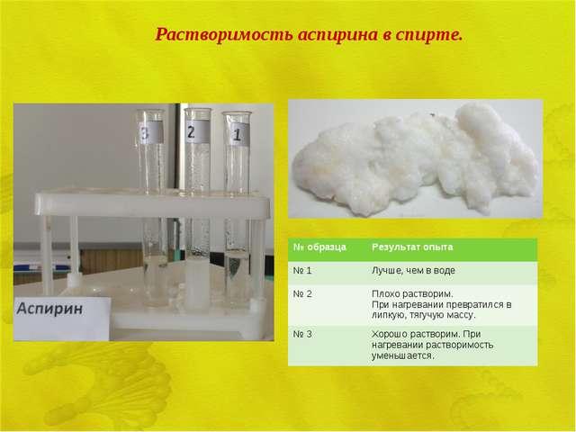 Растворимость аспирина в спирте. № образцаРезультат опыта № 1Лучше, чем в в...