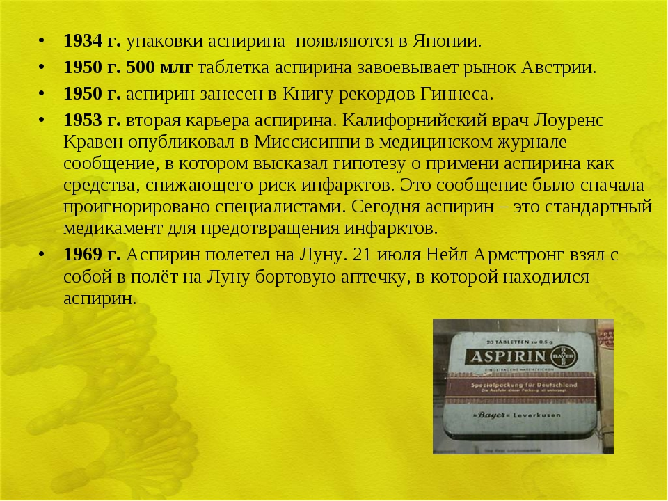 1934 г. упаковки аспирина появляются в Японии. 1950 г. 500 млг таблетка аспир...