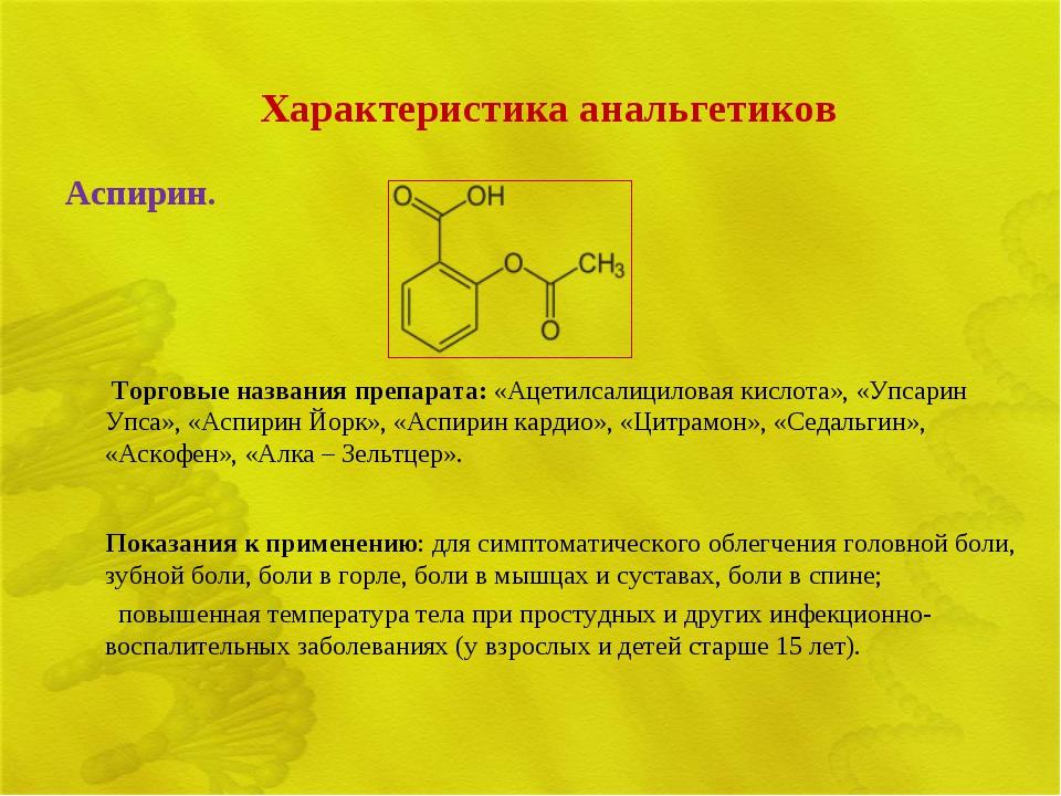 Характеристика анальгетиков Аспирин.  Торговые названия препарата: «Ацетилса...