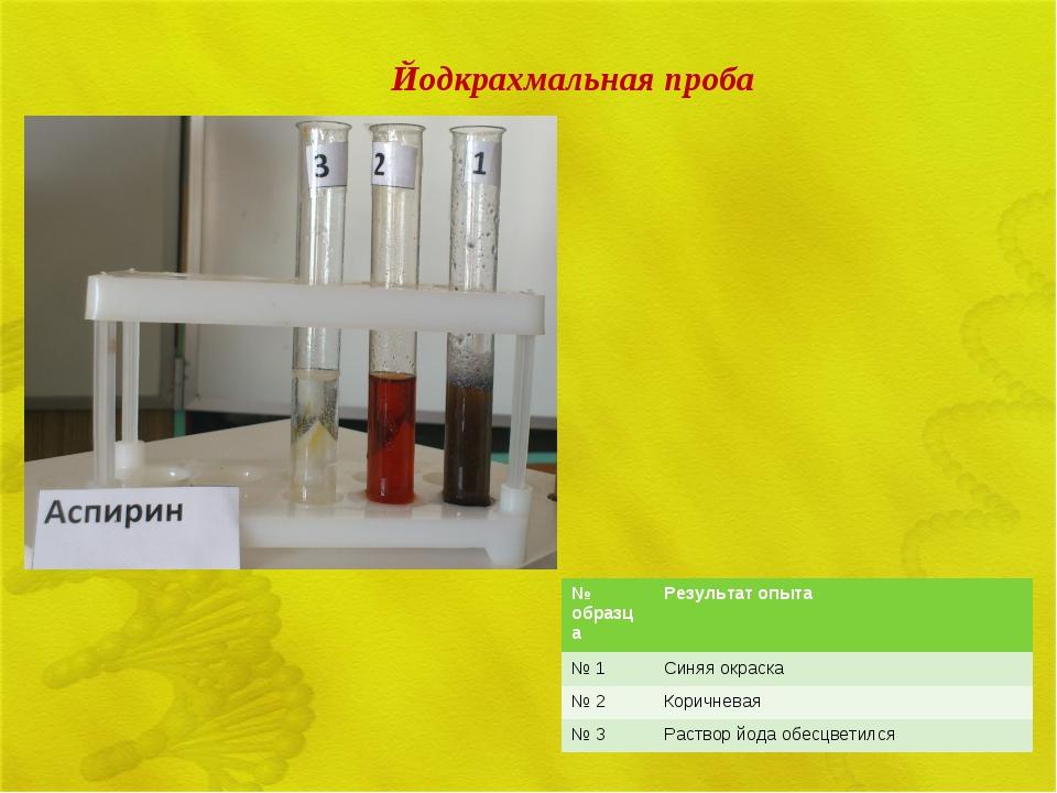 Йодкрахмальная проба № образцаРезультат опыта № 1Синяя окраска № 2Коричнев...