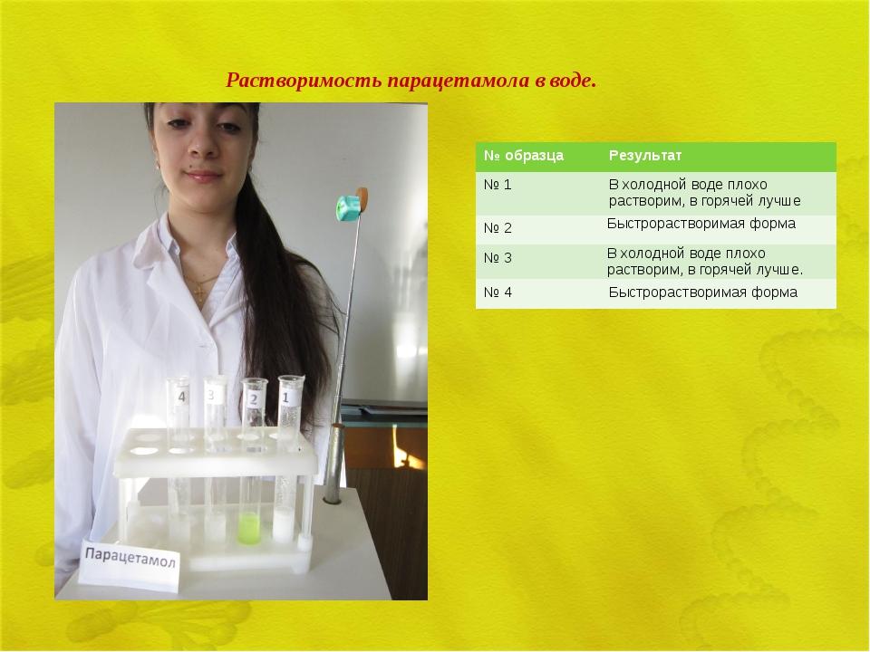 Растворимость парацетамола в воде. № образцаРезультат № 1В холодной воде пл...