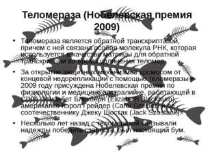 Теломераза (Нобелевская премия 2009) Теломераза является обратной транскрипта