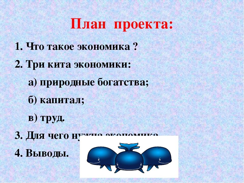План проекта: 1. Что такое экономика ? 2. Три кита экономики: а) природные бо...