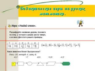 Дидактические игры на уроках математики. Игра: «Угадай слово». Расшифруйте на