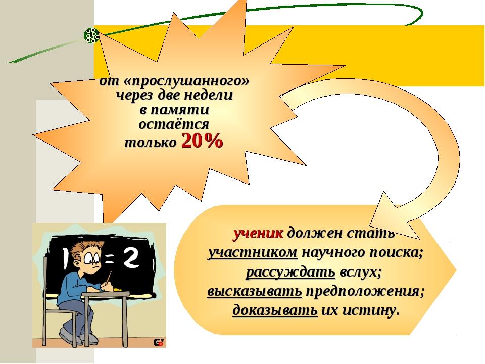 ученик должен стать участником научного поиска; рассуждать вслух; высказывать...