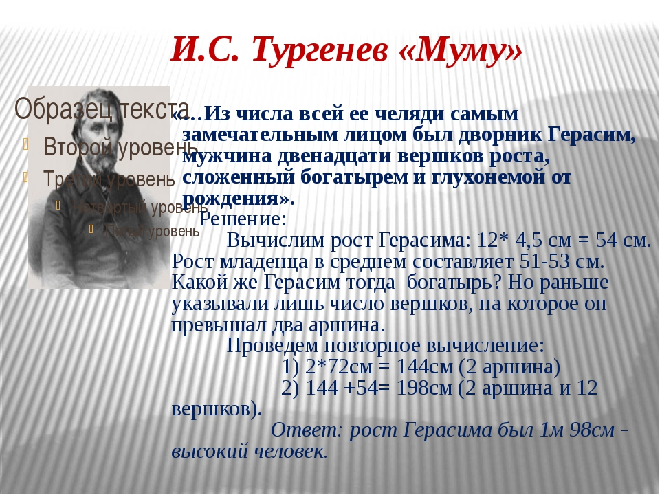 И.С. Тургенев «Муму» «…Из числа всей ее челяди самым замечательным лицом был...