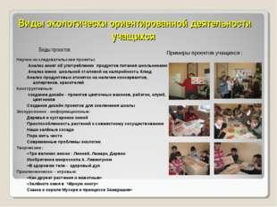 Виды экологически ориентированной деятельности учащихся Виды проектов Примеры