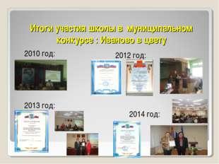 Итоги участия школы в муниципальном конкурсе : Иваново в цвету 2010 год: 2012