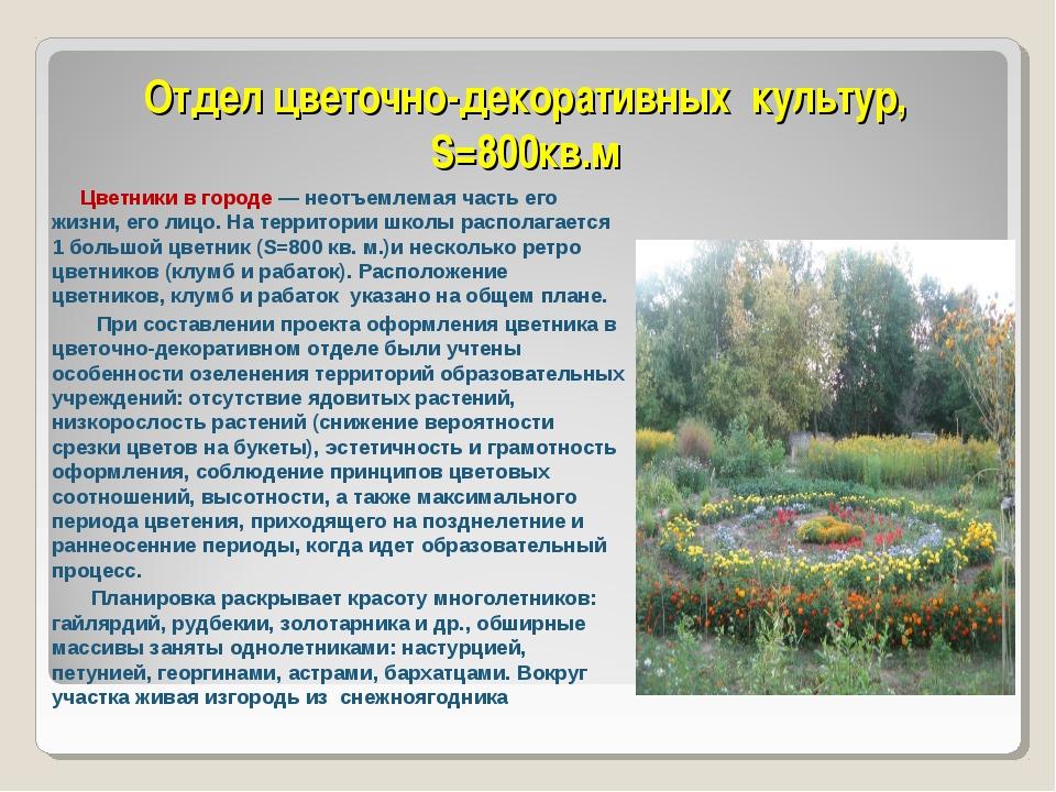 Отдел цветочно-декоративных культур, S=800кв.м Цветники в городе — неотъемлем...
