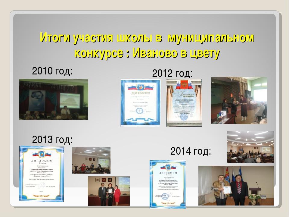 Итоги участия школы в муниципальном конкурсе : Иваново в цвету 2010 год: 2012...