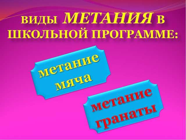 ВИДЫ МЕТАНИЯ В ШКОЛЬНОЙ ПРОГРАММЕ: