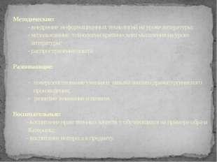 Методические: - внедрение информационных технологий на уроке литературы; - ис