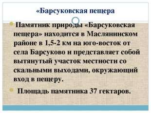 «Барсуковская пещера Памятник природы «Барсуковская пещера» находится в Масля