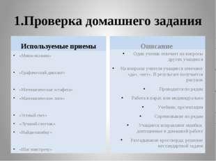 1.Проверка домашнего задания Используемые приемы «Мини-экзамен» «Графический