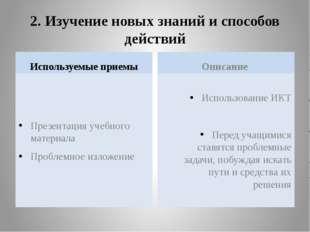 2. Изучение новых знаний и способов действий Используемые приемы Презентация