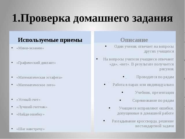 1.Проверка домашнего задания Используемые приемы «Мини-экзамен» «Графический...