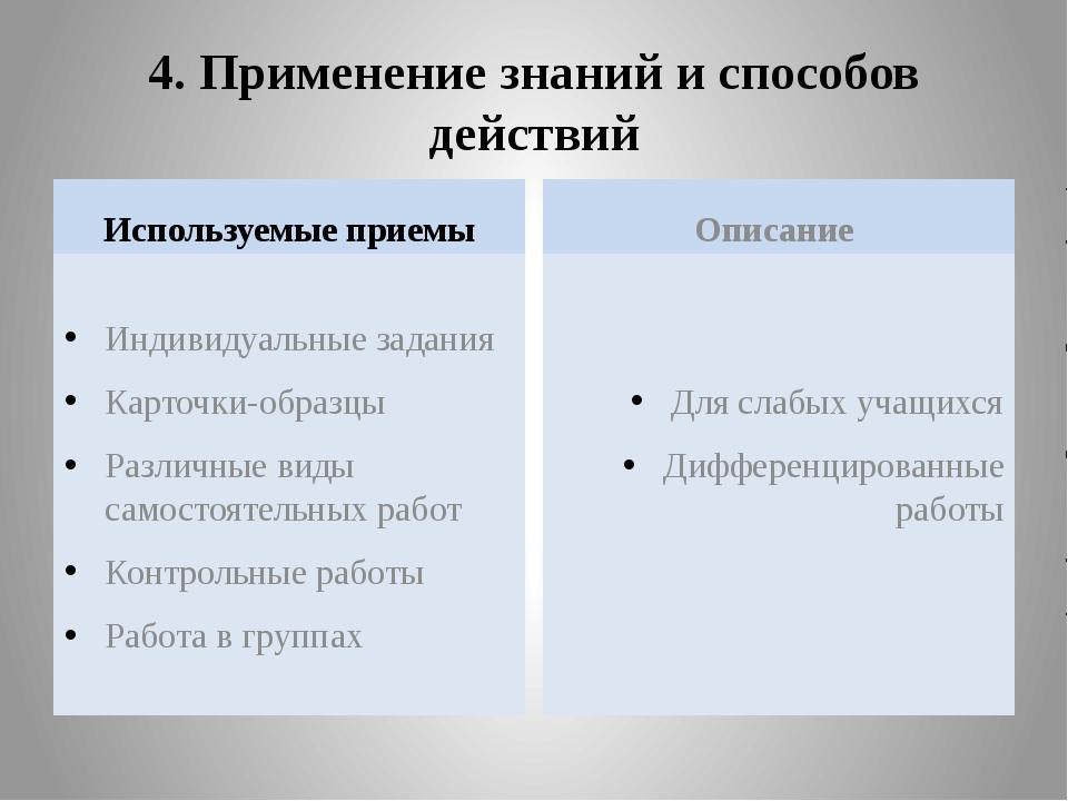 4. Применение знаний и способов действий Используемые приемы Индивидуальные з...