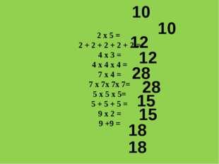 2 х 5 = 2 + 2 + 2 + 2 + 2 = 4 х 3 = 4 х 4 х 4 = 7 х 4 = 7 х 7х 7х 7= 5 х 5 х
