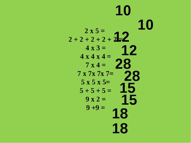 2 х 5 = 2 + 2 + 2 + 2 + 2 = 4 х 3 = 4 х 4 х 4 = 7 х 4 = 7 х 7х 7х 7= 5 х 5 х...