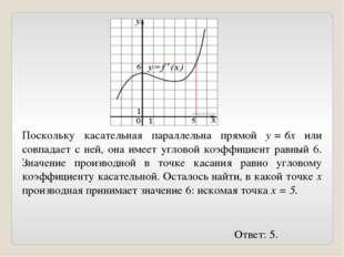 Поскольку касательная параллельна прямой y=6x или совпадает с ней, она имее