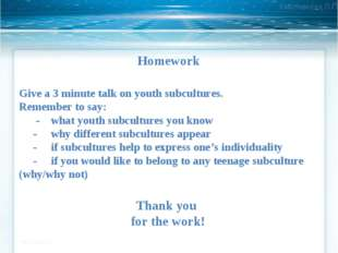 Homework Give a 3 minute talk on youth subcultures. Remember to say: - what y