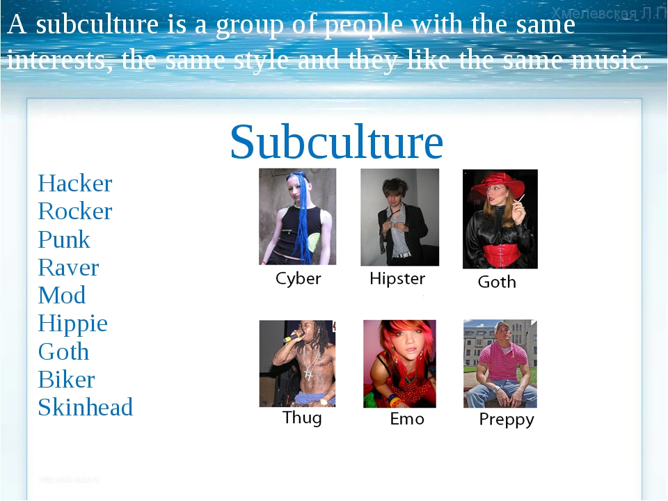 A subculture is a group of people with the same interests, the same style and...