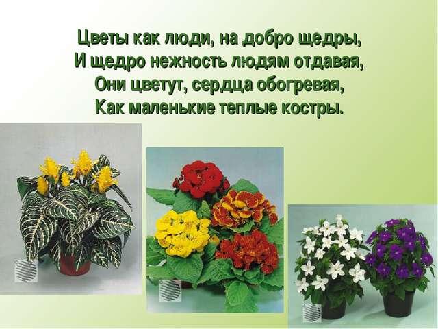 Цветы как люди, на добро щедры, И щедро нежность людям отдавая, Они цветут, с...