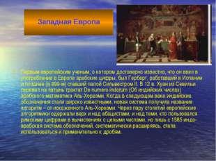 Первым европейским ученым, о котором достоверно известно, что он ввел в употр