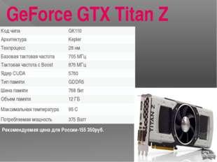 GeForce GTX 980 Рекомендуемая цена в России 35500руб. Кодовое имя чипа GM204