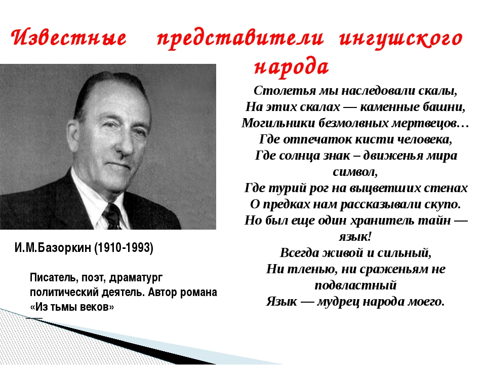 Известные представители ингушского народа И.М.Базоркин (1910-1993) Столетья м...