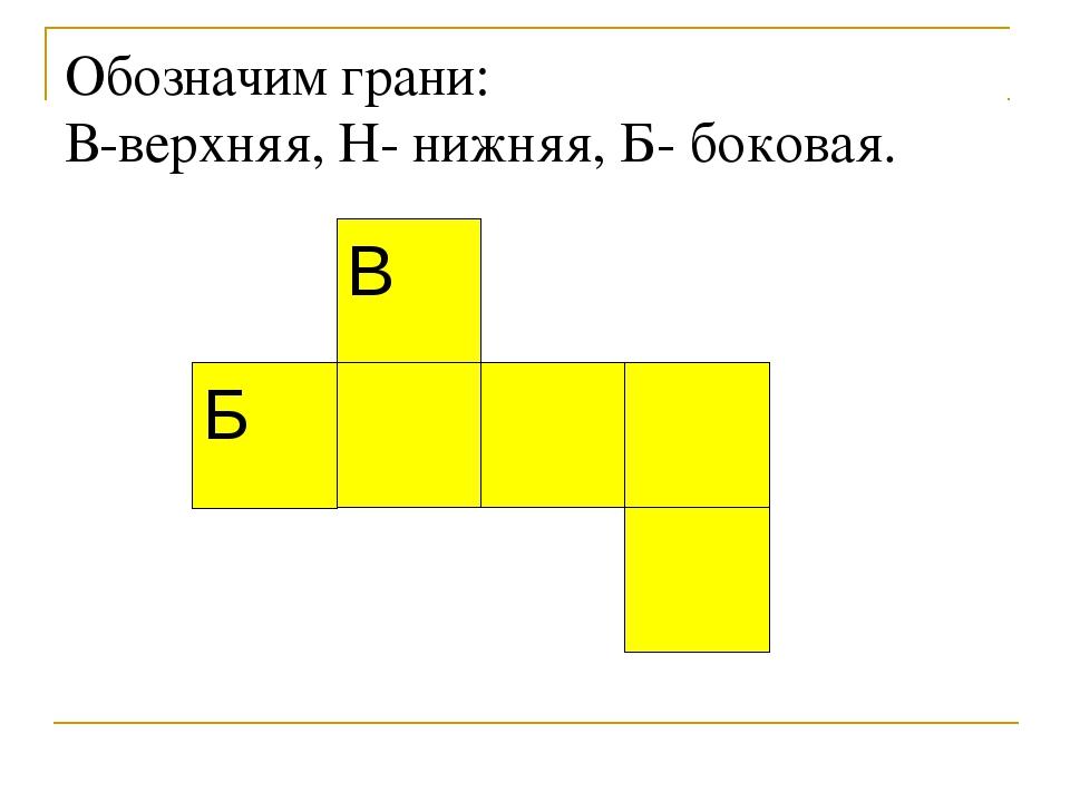 Обозначим грани: В-верхняя, Н- нижняя, Б- боковая.