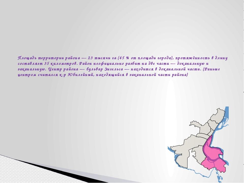 Площадь территории района— 23 тысячи га (45% от площади города), протяжённо...